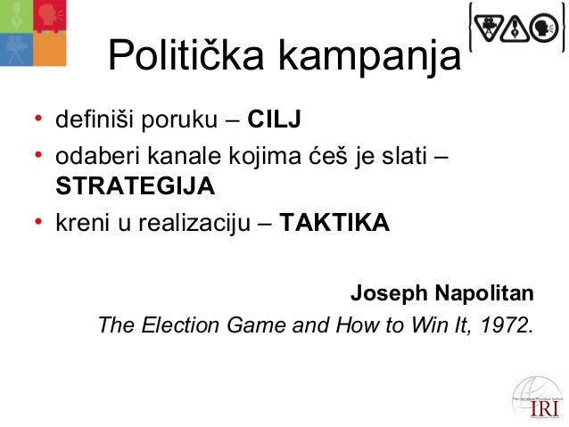 Politička kampanja  • definiši poruku – CILJ  • odaberi kanale kojima ćeš je slati –  STRATEGIJA  • kreni u realizaciju – ...