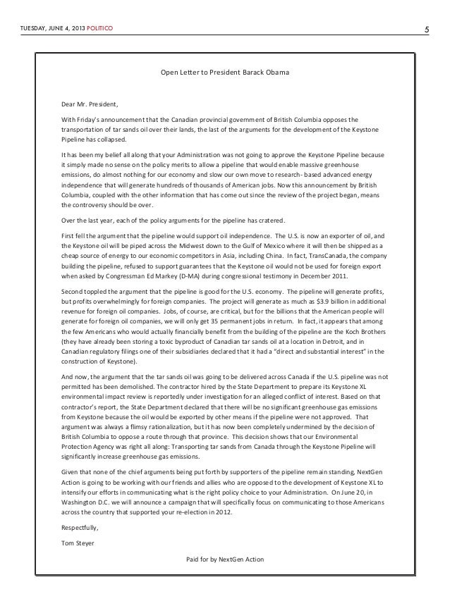 TUESDAY, JUNE 4, 2013 POLITICO 5Open Letter to President Barack ObamaDear Mr. President,With Fridays announcement that the...