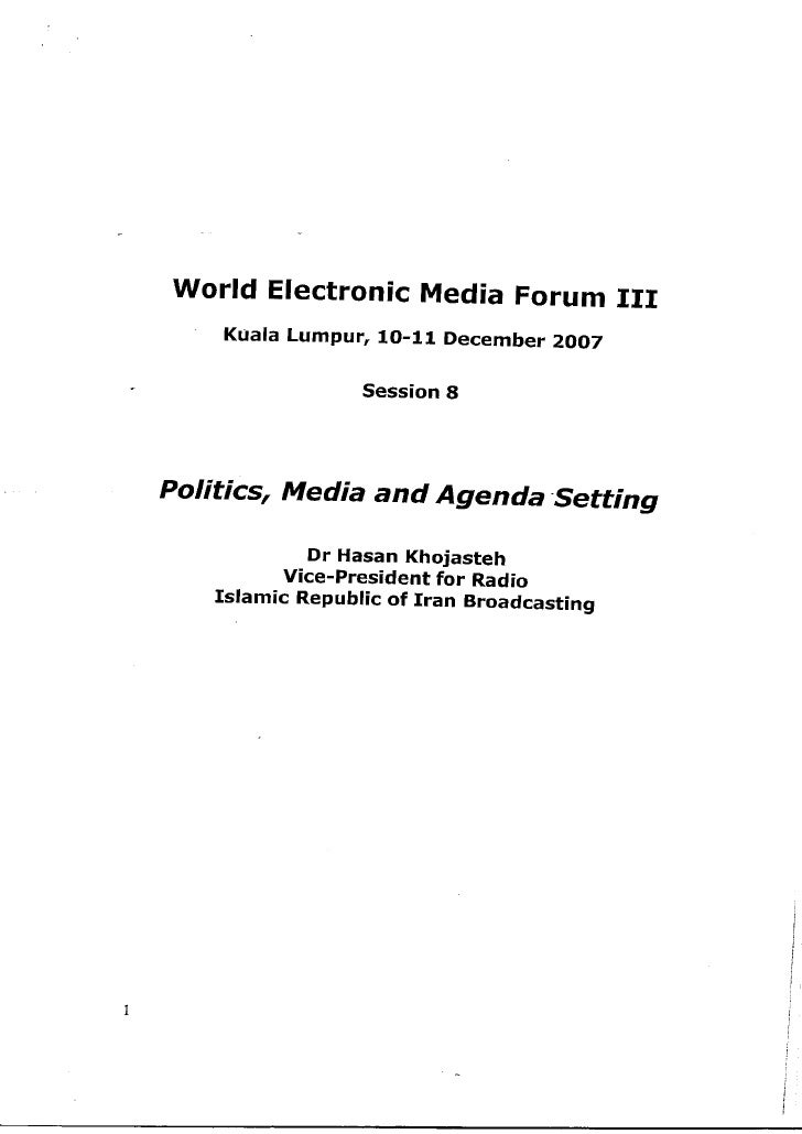 Politics, Media, Agenda Setting