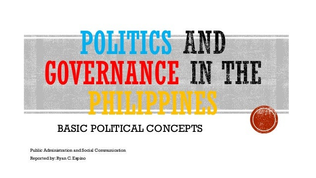 POLITICS GOVERNANCE PHILIPPINES BASIC POLITICAL CONCEPTS Public Administration and Social Communication Reported by: Ryan ...