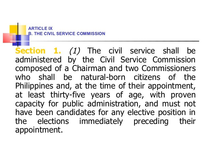 <ul><li>Section 1.   (1)  The civil service shall be administered by the Civil Service Commission composed of a Chairman a...