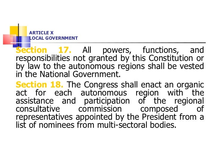 ARTICLE X LOCAL GOVERNMENT <ul><li>Section 17.  All powers, functions, and responsibilities not granted by this Constituti...
