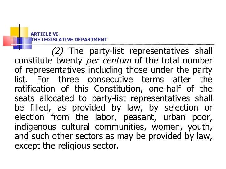 ARTICLE VI THE LEGISLATIVE DEPARTMENT <ul><li>(2)  The party-list representatives shall constitute twenty  per centum  of ...