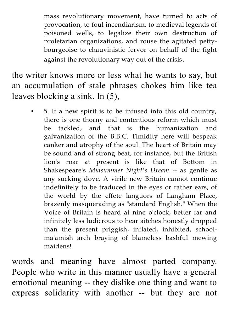Politics and the English Language doc for kindle