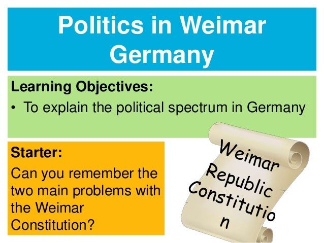 The Reich Constitution of August 11th 1919 (Weimar Constitution) with Modifications (1)
