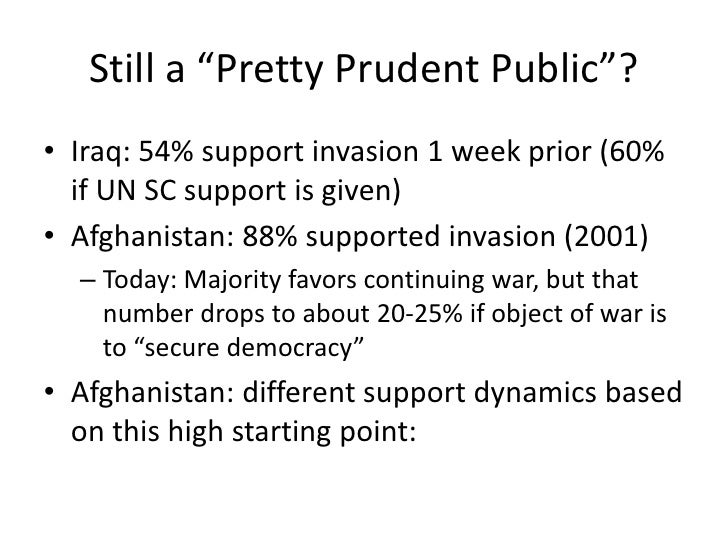 """Still a """"Pretty Prudent Public""""?<br />Iraq: 54% support invasion 1 week prior (60% if UN SC support is given)<br />Afghani..."""