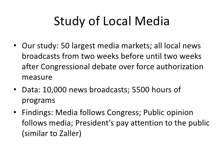 Study of Local Media<br />Our study: 50 largest media markets; all local news broadcasts from two weeks before until two w...