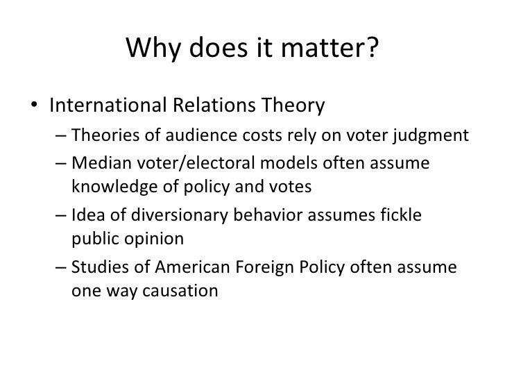 Why does it matter?<br />International Relations Theory<br />Theories of audience costs rely on voter judgment<br />Median...