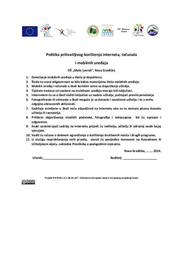 """Politika prihvatljivog korištenja interneta, računala  i mobilnih uređaja  OŠ """"Mato Lovrak"""", Nova Gradiška  1. Donošenje m..."""