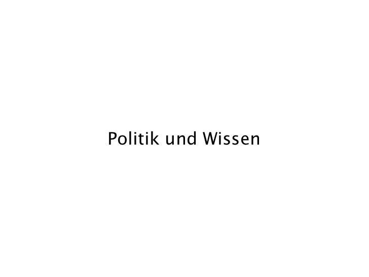 Politik und Wissen