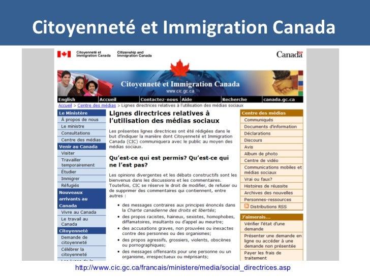 Citoyenneté et Immigration Canada http://www.cic.gc.ca/francais/ministere/media/social_directrices.asp