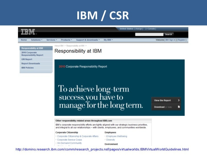 IBM / CSR http://domino.research.ibm.com/comm/research_projects.nsf/pages/virtualworlds.IBMVirtualWorldGuidelines.html