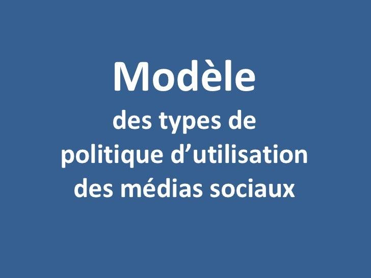 Modèle des types de politique d'utilisation des médias sociaux