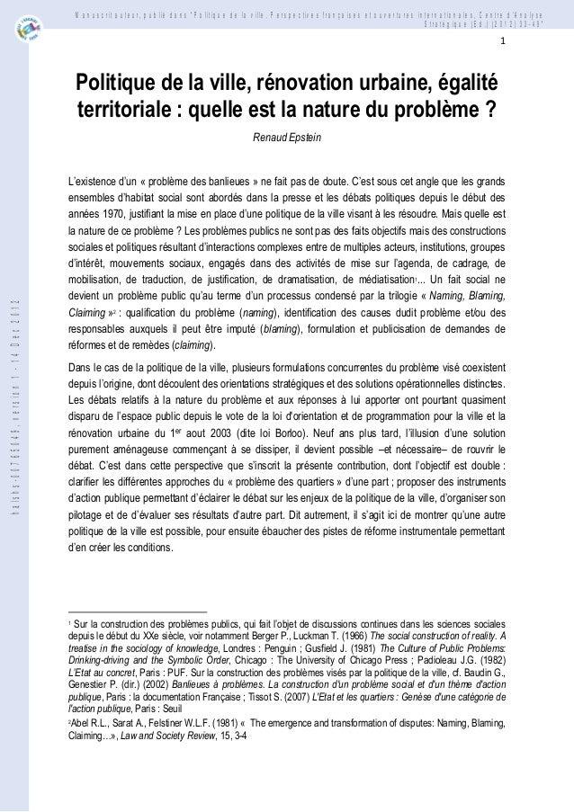 """Manuscrit auteur, publié dans """"Politique de la ville. Perspectives françaises et ouvertures internationales, Centre dAnaly..."""