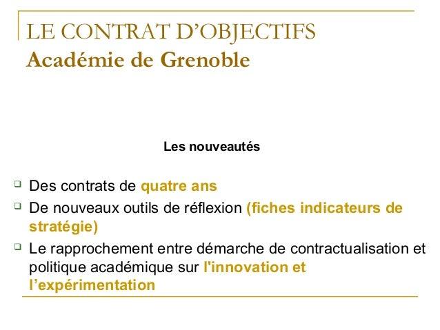 LE CONTRAT D'OBJECTIFS Académie de Grenoble Les nouveautés  Des contrats de quatre ans  De nouveaux outils de réflexion ...