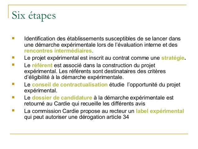 Six étapes   Identification des établissements susceptibles de se lancer dans    une démarche expérimentale lors de l'éva...