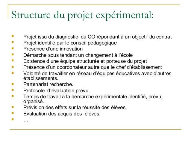 Structure du projet expérimental:   Projet issu du diagnostic du CO répondant à un objectif du contrat   Projet identifi...