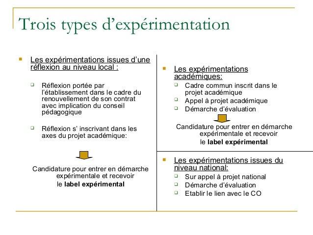 Trois types d'expérimentation   Les expérimentations issues d'une    réflexion au niveau local :               Les expér...