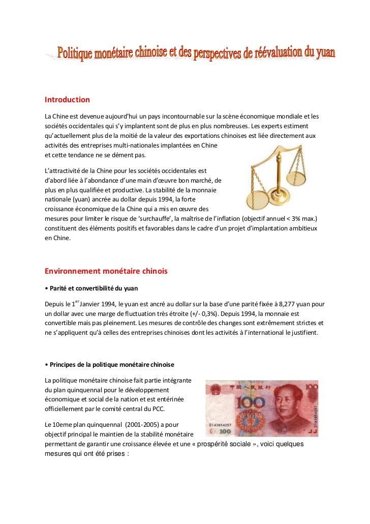 IntroductionLa Chine est devenue aujourd'hui un pays incontournable sur la scène économique mondiale et lessociétés occide...