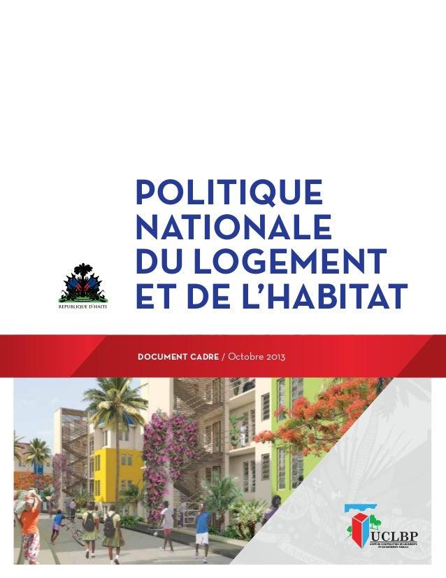 document cadre / Octobre 2013 Politique nationale du logement et de l'habitat