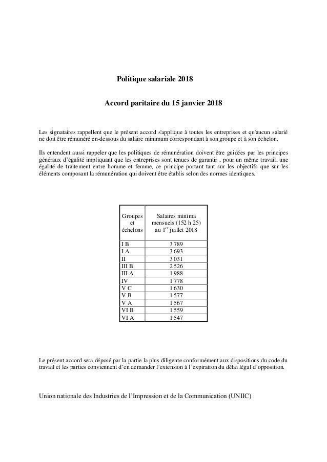 Politique salariale 2018 Accord paritaire du 15 janvier 2018 Les signataires rappellent que le présent accord s'applique à...