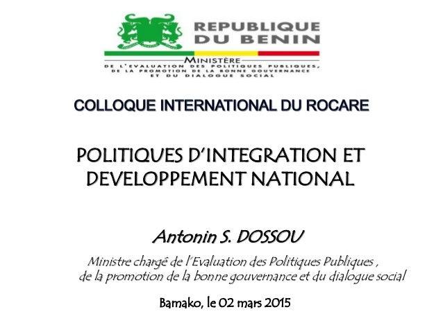 Ministre chargé de l'Evaluation des Politiques Publiques , de la promotion de la bonne gouvernance et du dialogue social P...