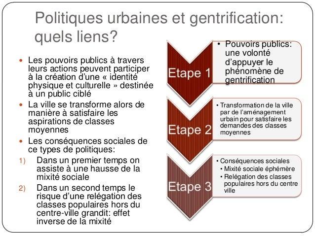 Politiques urbaines et gentrification: quels liens? • Pouvoirs publics:  Les pouvoirs publics à travers     1)  2)  leu...