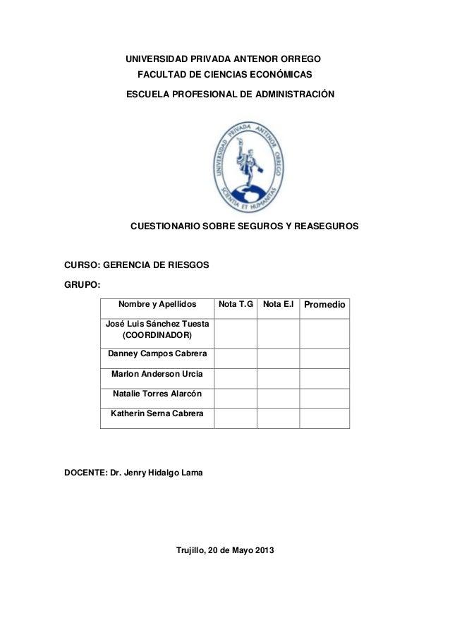 UNIVERSIDAD PRIVADA ANTENOR ORREGOFACULTAD DE CIENCIAS ECONÓMICASESCUELA PROFESIONAL DE ADMINISTRACIÓNCUESTIONARIO SOBRE S...
