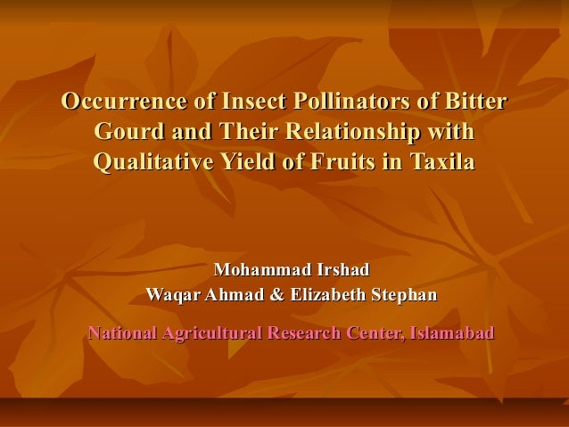 Occurrence of Insect Pollinators of BitterOccurrence of Insect Pollinators of BitterGourd and Their Relationship withGourd...