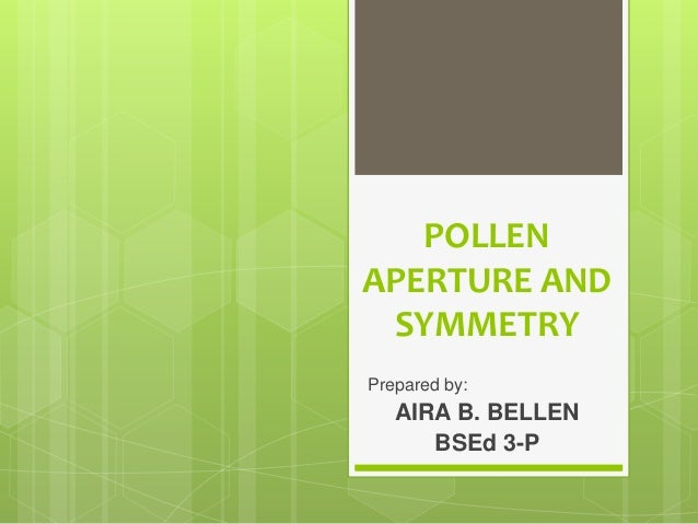 POLLEN APERTURE AND SYMMETRY Prepared by: AIRA B. BELLEN BSEd 3-P