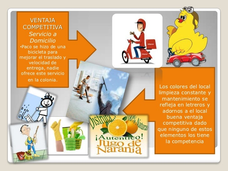 VENTAJA COMPETITIVA  Servicio a   Domicilio•Paco se hizo de una     bicicleta paramejorar el traslado y     velocidad de  ...