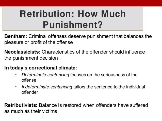 deterrence incapacitation retribution and rehabilitation A punishment is the imposition of an undesirable or unpleasant outcome upon a  group or  justifications for punishment include retribution, deterrence,  rehabilitation, and incapacitation the last could include such measures as  isolation,.