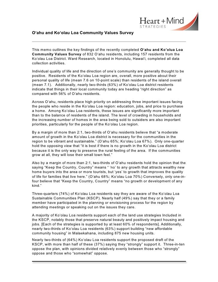 Page 1 of 2	  O'ahu and Ko'olau Loa Community Values SurveyThis memo outlines the key findings of the recently completed O...