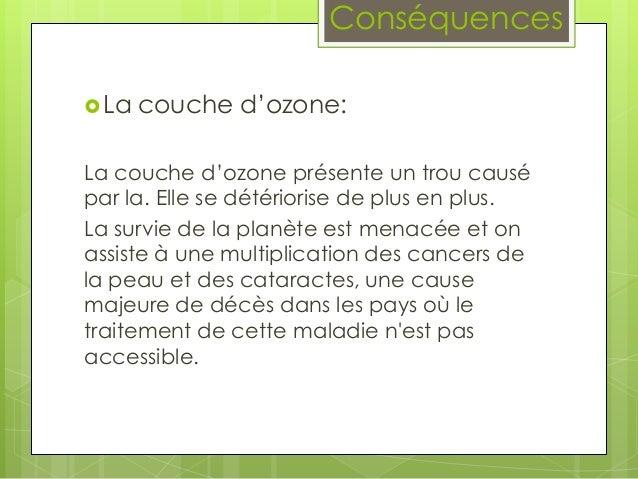 Pollution industrielle - Consequences de la destruction de la couche d ozone ...