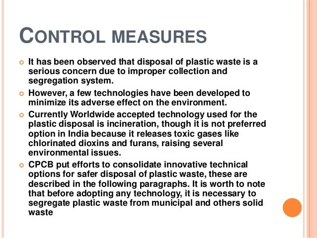 Pollution due to plastic waste