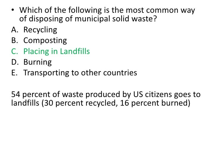 multiple choice questions on pollution