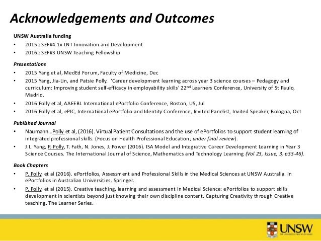 Collaborative program wide alignment of assessments and eportfolios workshop outcomes 32 acknowledgements and outcomes unsw toneelgroepblik Images
