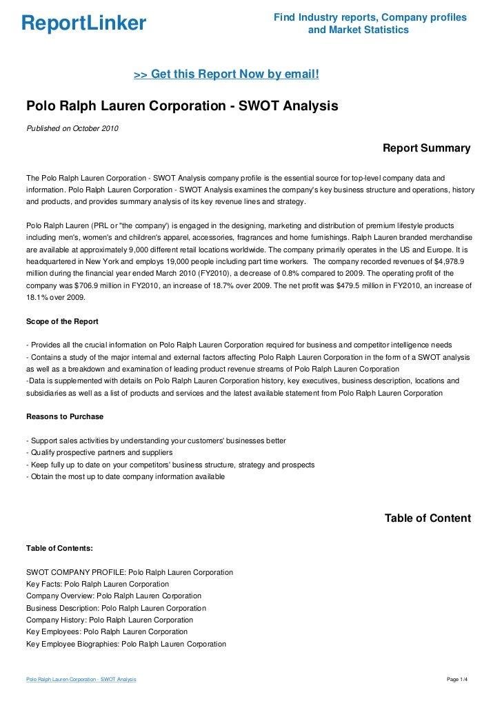 Lauren Swot Polo Corporation Ralph Analysis BCoerdxW
