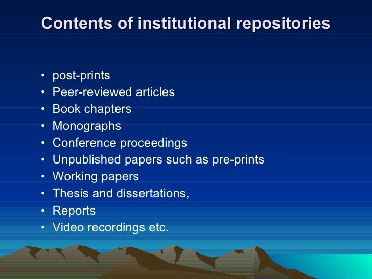 institutional repository thesis Abstract part of the grey literature, electronic theses and dissertations (etds)  represent a growing segment of open, available content in institutional  repositories.