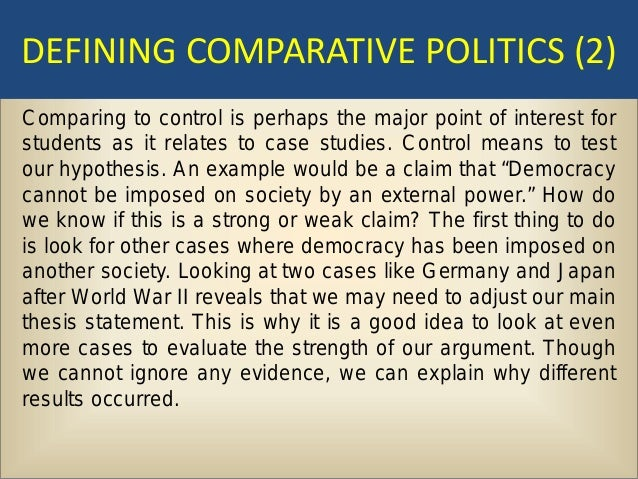 the main weakness of the case study method in comparative political analysis is that