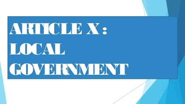 ARTICLE X: LOCAL GOVERNMENT
