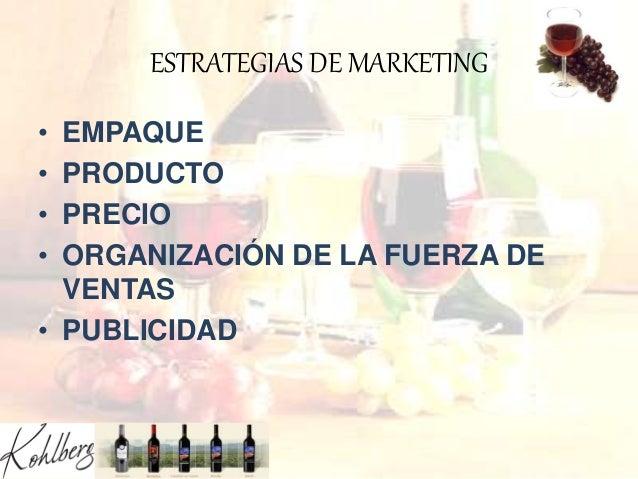 ESTRATEGIAS DE MARKETING • EMPAQUE • PRODUCTO • PRECIO • ORGANIZACIÓN DE LA FUERZA DE VENTAS • PUBLICIDAD