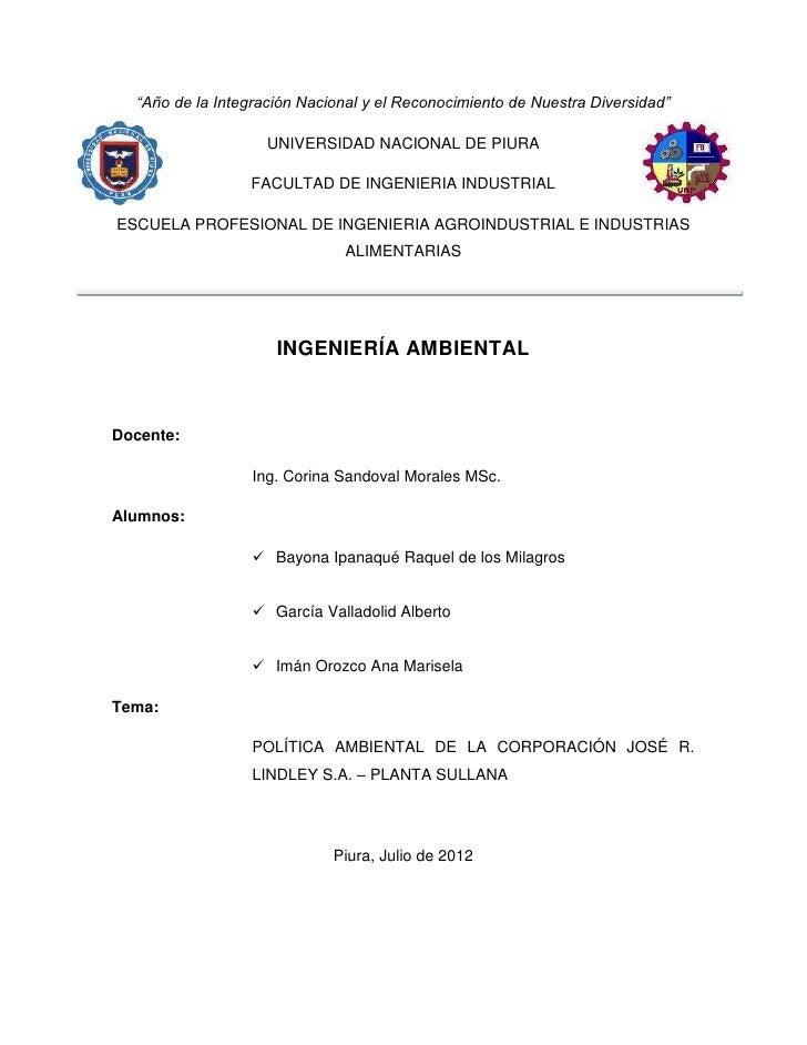 """""""Año de la Integración Nacional y el Reconocimiento de Nuestra Diversidad""""                    UNIVERSIDAD NACIONAL DE PIUR..."""