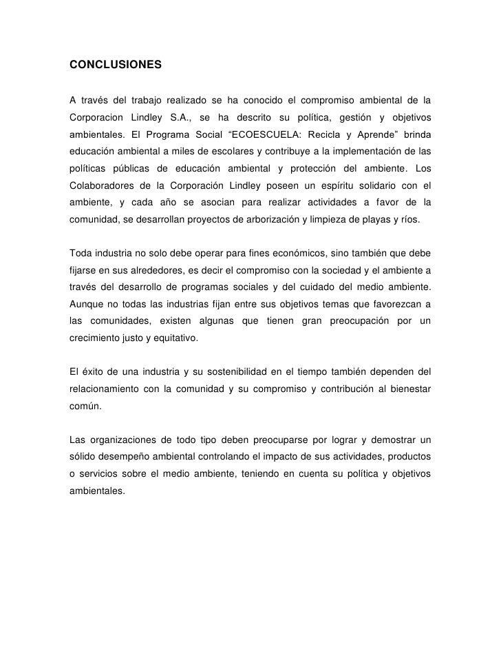 Pol Tica Ambiental De Lindley S A