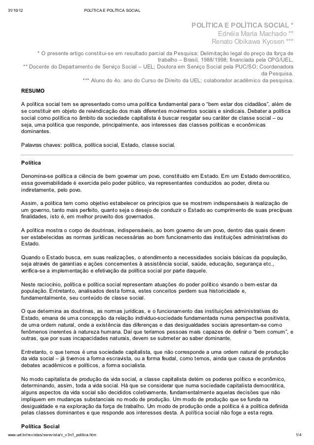 31/10/12                                    POLÍTICA E POLÍTICA SOCIAL                                                    ...