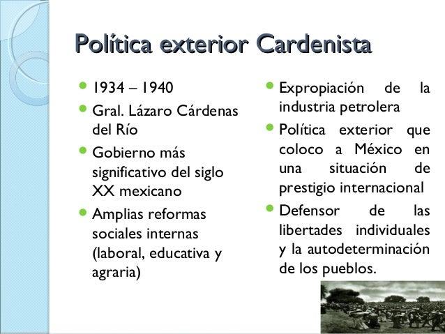 Pol tica exterior cardenista for Gobierno exterior