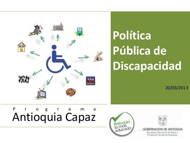 Política pública de discapacidad antioquia capaz