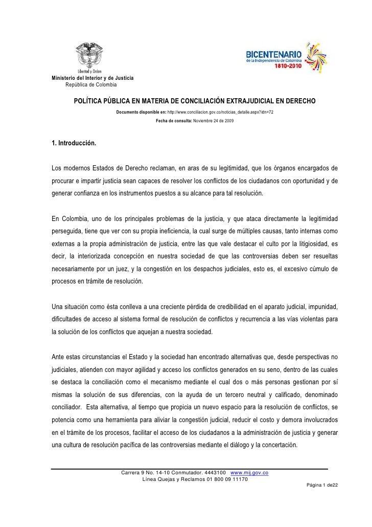 Ministerio del Interior y de Justicia       República de Colombia            POLÍTICA PÚBLICA EN MATERIA DE CONCILIACIÓN E...