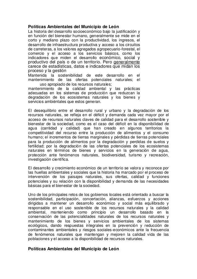 Políticas Ambientales del Municipio de LeónLa historia del desarrollo socioeconómico bajo la justificación yen función del...