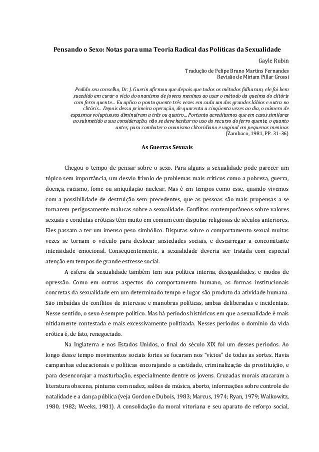 Pensando o Sexo: Notas para uma Teoria Radical das Políticas da Sexualidade Gayle Rubin Tradução de Felipe Bruno Martins F...